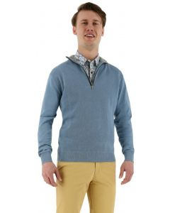 Redmond pullover Troyer structured blauw