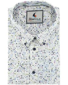 Gcm Originals overhemd korte mouw big men fit wit-pink dots