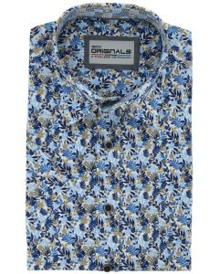 Gcm originals overhemd big men fit flower blue