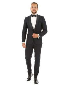 Smoking slim fit, 2-delig, micro kamgaren, zwart