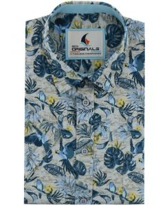 Gcm Originals regular fit overhemd korte mouw tropical zand blauw