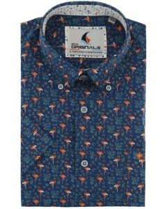 Gcm Originals regular fit overhemd korte mouw blauw- oranje