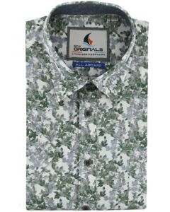 Gcm Originals regular fit overhemd korte mouw groen