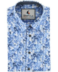 Gcm Originals regular fit overhemd korte mouw blauw