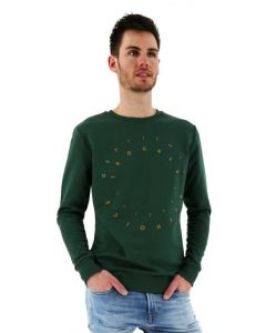 Kultivate sweater roundabout print regular fit donkergroen ivy